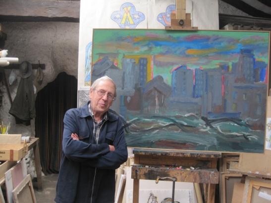 Luis García Zurdo, en su taller, junto a una de las obras que se podrán ver en esta exposición. Fotografía: Eloísa Otero.