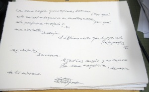 Poema manuscrito de Antonio Gamoneda.