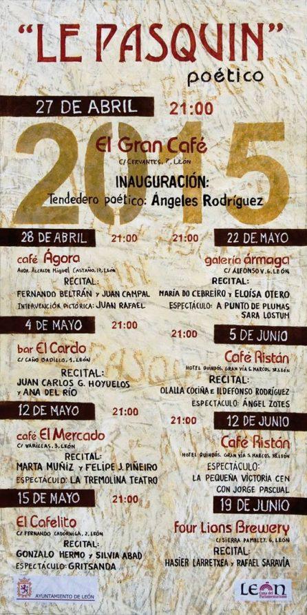 El cartel es obra del artista plástico Juan Rafael, quien el día 28 de abril realizó una tirada de nueve ejemplares, distintos y personalizados, sobre papel reciclado a mano.