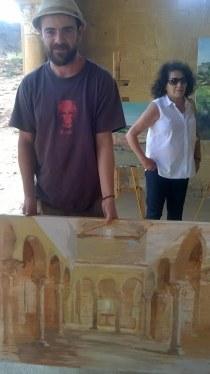El artista berciano Pablo Ca con su cuadro, que resultó preselecionado.